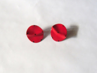 Vintage 80's Red Ladybug Round Pierced Stud Earrings. Click image for more info.