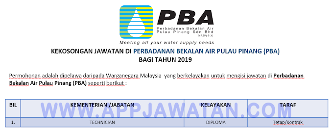 Jawatan Kosong di Perbadanan Bekalan Air Pulau Pinang (PBA).