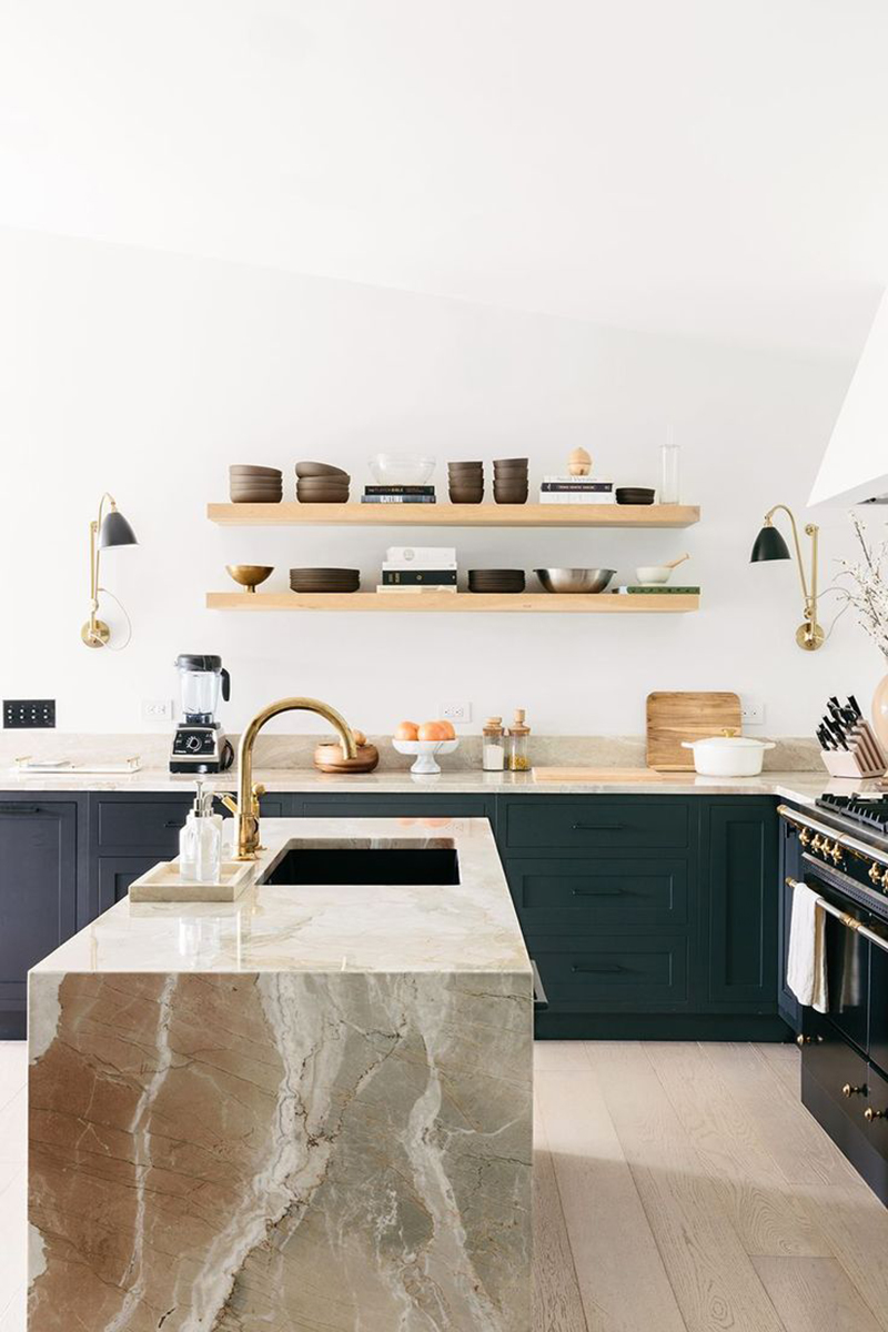 ilaria fatone _ shelf in minimal kitchen _ two parallel shelves