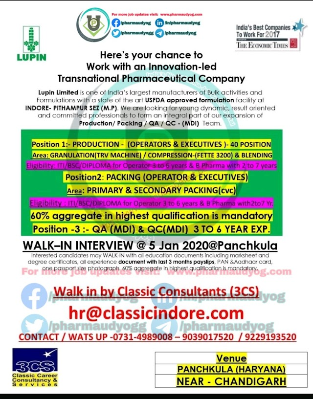 Lupin | Walk-in for Production-Packing-QA on 5 Jan 2020 | Pharma Jobs in Panchkula