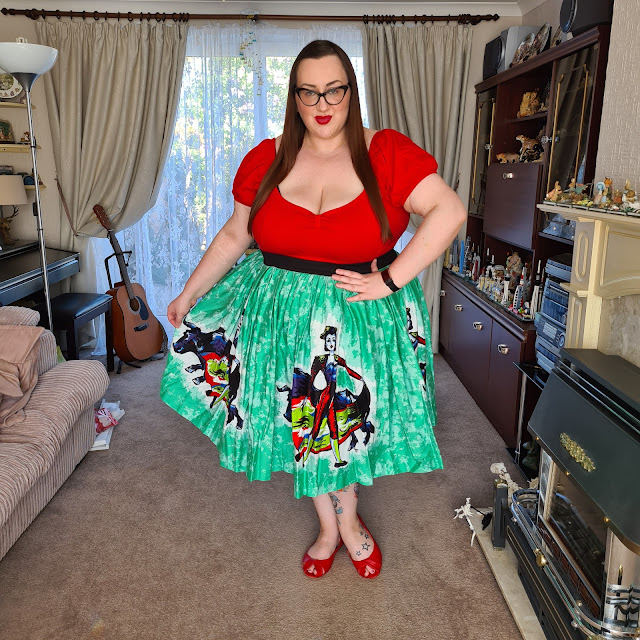 Pin up girl clothing female matador print skirt
