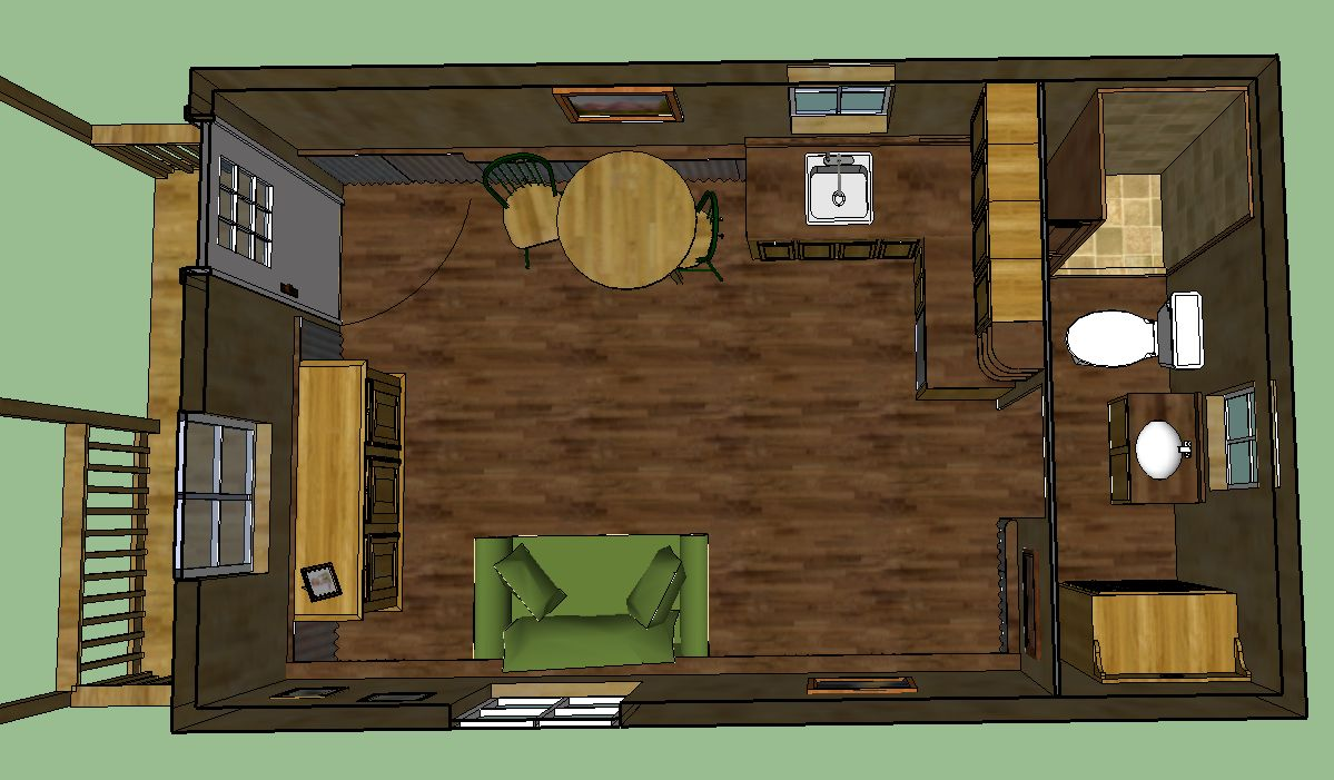 Sweatsville 12 x 24 Lofted Barn Cabin in SketchUp – 10X20 Tiny House Floor Plans