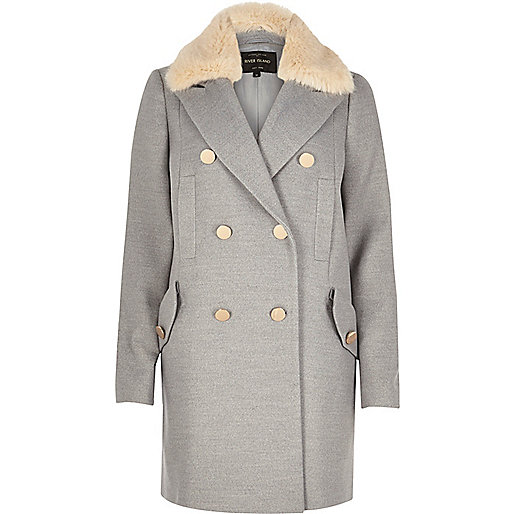 river island grey coat fur collar,
