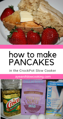 Get your slow cooker set up before you go to bed and wake up to CrockPot pancakes!