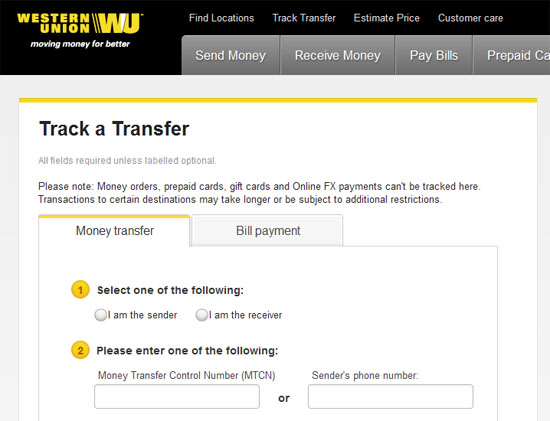 Track western union with mtcn only - Adz