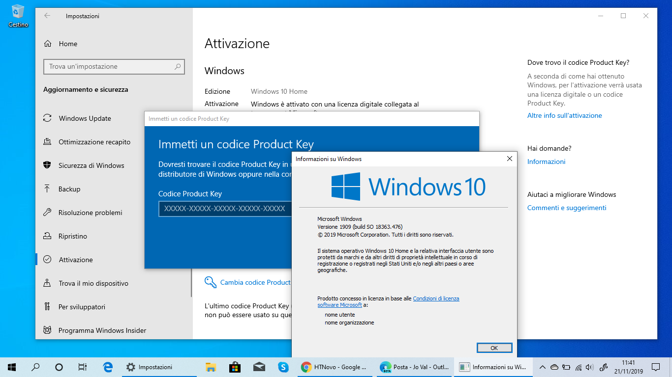 Product-key-windows-10-versione-1909