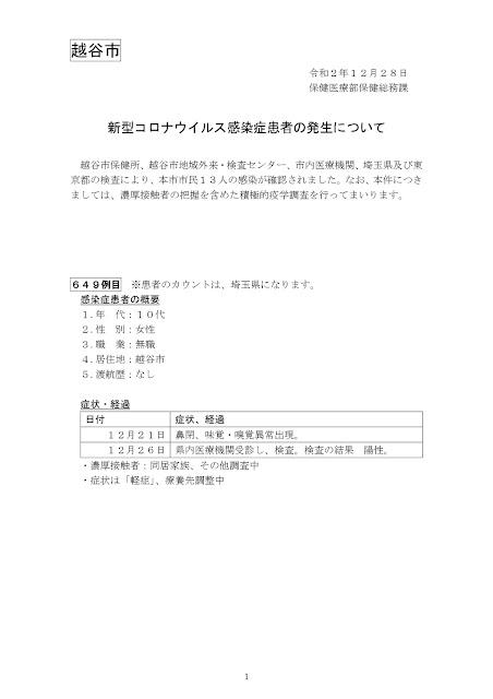 新型コロナウイルス感染症患者の発生について(12月28日発表)
