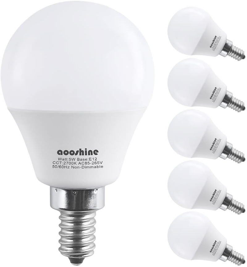 50% OFF G45-E12-5W-2700K Warm White LED Bulb for Ceiling Fan,  6 Pack,  Non-Dimmable