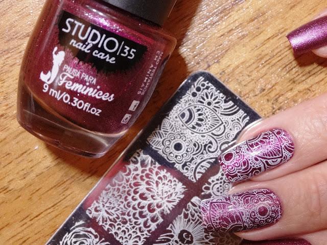 Esmalte Studio 35 #espelhomagico + Carimbada SB 034