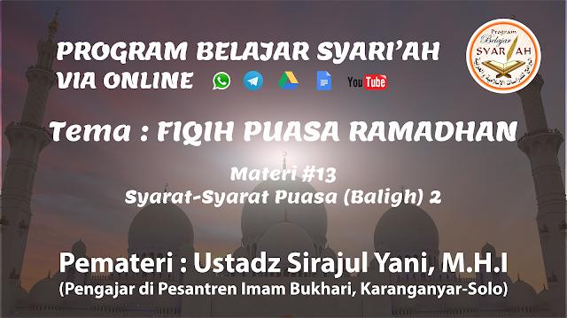 Syarat-Syarat Puasa (Baligh) 2 (Materi #13)