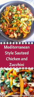 This easy Mediterranean style skillet dish of bold flavored chicken and vegetables comes together in under 30 minutes!