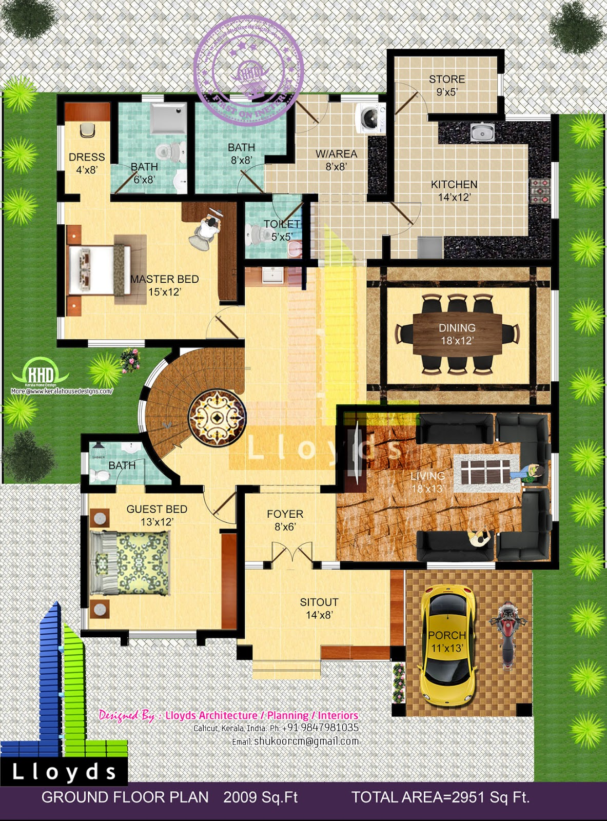 2951 4 bedroom bungalow floor plan and 3d view for Small bungalow design india