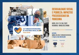 "Evento Internacional de Assistência Social vai discutir o tema ""Desigualdade social e pobreza: impactos psicossociais da pandemia"""