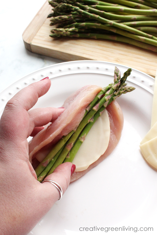 How to make cheese and asparagus stuffed chicken breasts. Start them on the stove top in a cast iron skillet and then bake them in the oven until done.