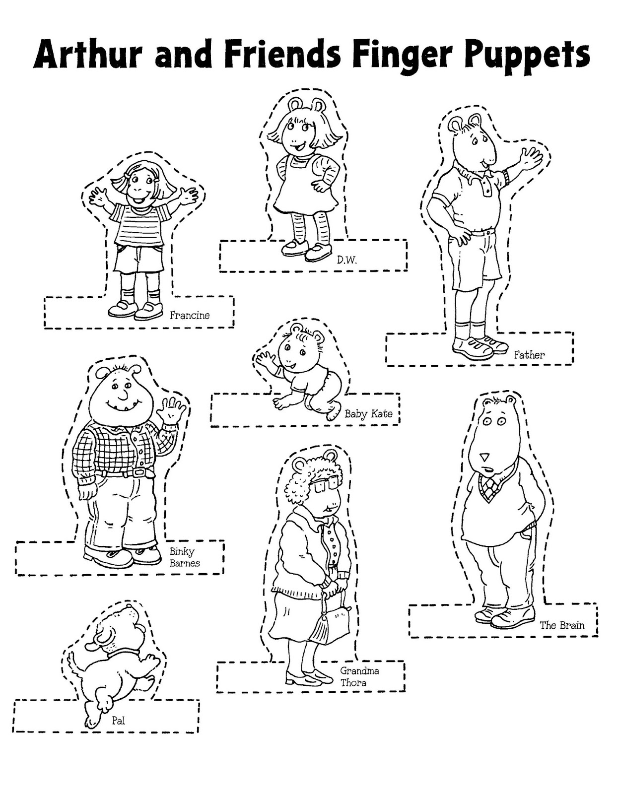 Mostly Paper Dolls Too!: ARTHUR and Friends Finger Puppets