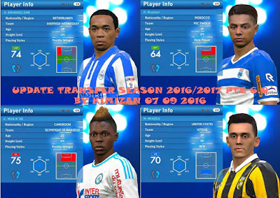 Update Transfer Season 2016-17 PES 2016 PTE Patch 6.0 by kimizan
