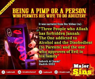 MAJOR SIN. 34.2. BEING A PIMP OR A PERSON WHO PERMITS HIS WIFE TO DO ADULTERY