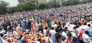 सन्त रविदास जी का मंदिर तोड़ने के विरोध में राम लीला मैदान में उनके अनुयायियों की उमड़ी भीड़