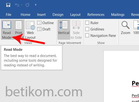 word 2016 dengan read mode