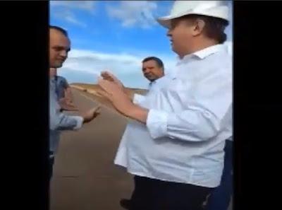 Bate-boca entre Carlesse, prefeito e secretária durante vistoria a ponte de Porto Nacional