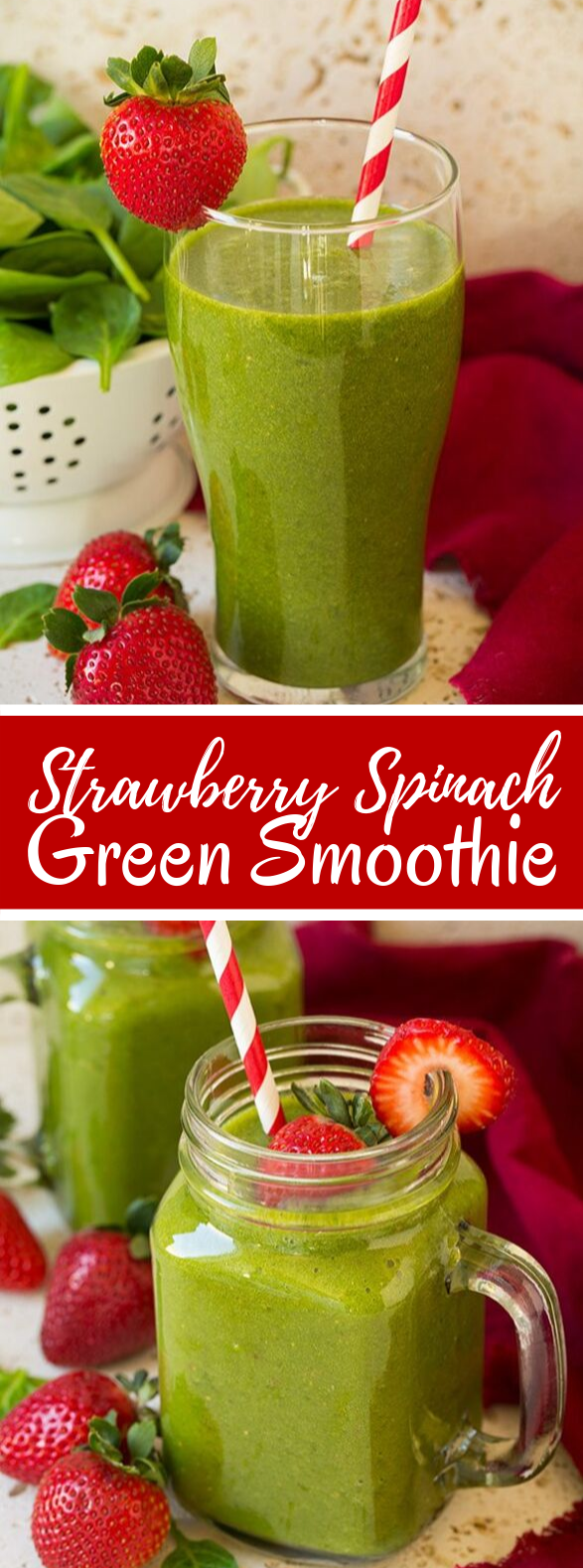 Strawberry Spinach Green Smoothie #drinks #healthy #smoothie