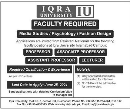 www.iqraisb.edu.pk Jobs 2021 - Iqra University Jobs 2021 in Pakistan