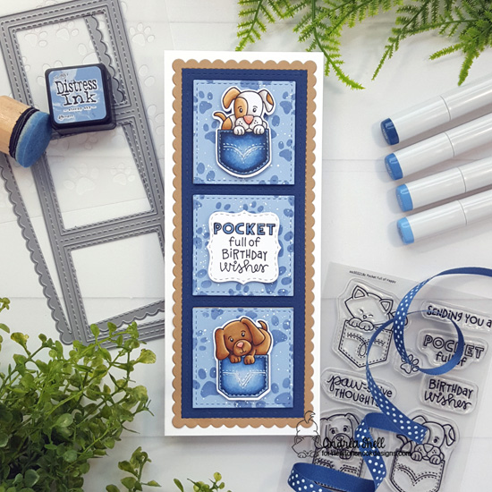 STAMPtember Exclusive: Pocket Full of Happy Stamp Set by Newton's Nook Designs #newtonsnook #handmade