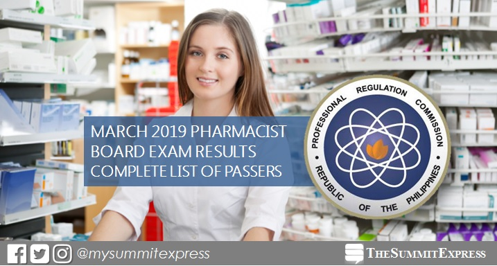 March 2019 Pharmacist board exam list of passers, top 10