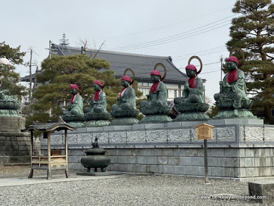 Jizo Bodhisattva statues inside Niomon Gate at Zenkoji Temple in Nagano City, Japan