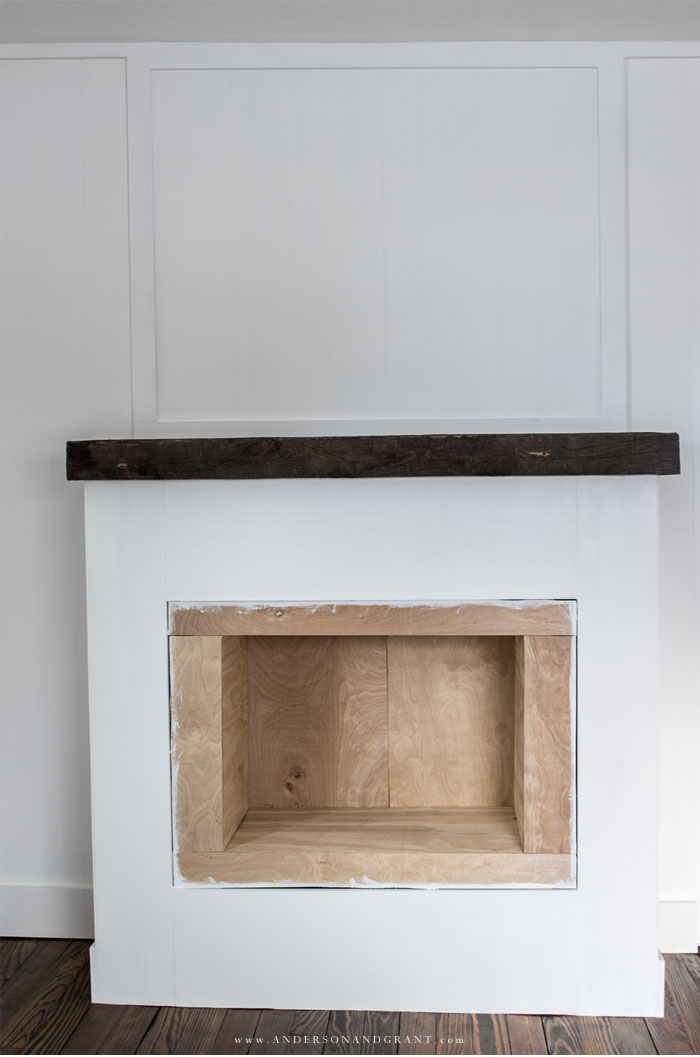 Building white fake fireplace