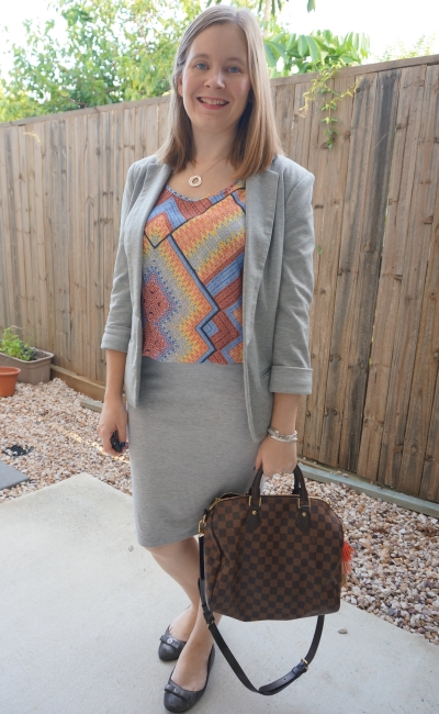 grey jersey pencil skirt and blazer with mixed print tank speedy bandouliere bag summer office outfit | away from blue