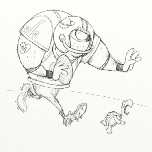 Sketching process: Football Player (and a lil' turtle)