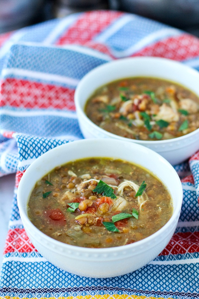 Chicken and Lentil Soup in bowls
