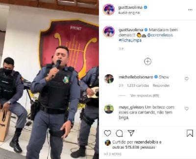 Cantor Gusttavo Lima compartilhou a apresentação do Corpo Musical da PMMT
