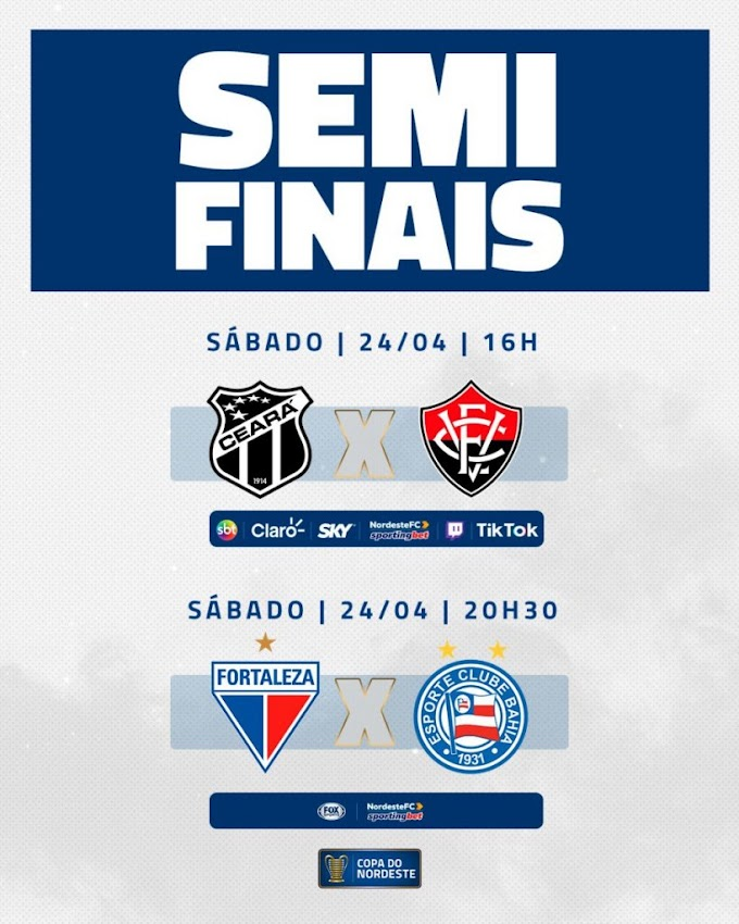 Horários dos confrontos das semifinais da Copa do Nordeste estão definidos; jogos acontecem sábado