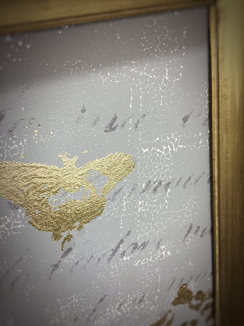 gold leaf, chalk paint, IOD stencil, gray and gold, crackle, framed print, gold frame