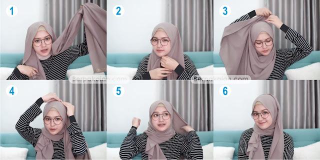 Style Kedua Tutorial Hijab Pashmina untuk Wanita Berkacamata Simple TERBARU 2019