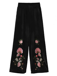 Retro Floral Embroidered Velvet Culotte Pants - Black