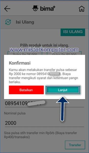 Masukkan nomor tujuan dan nominal transfer