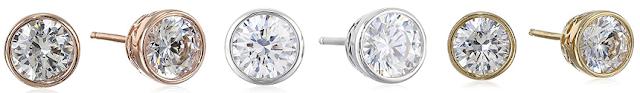 Plated Sterling Silver Swarovski Zirconia Bezel-Set Stud Earrings $10 (reg $24)