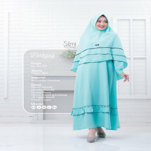 silmi fashion gamis farhana pepper mint