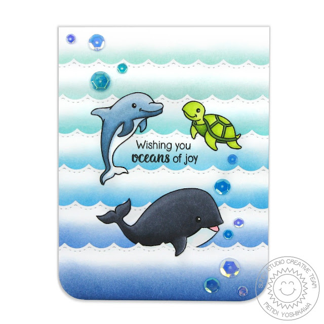Sunny Studio Stamps Oceans of Joy Dolphin, Sea Turtle and Whale Card by Mendi Yoshikawa