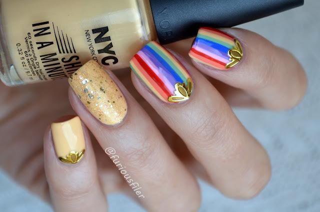 rainbow stripes gold stickers bps glitter nails