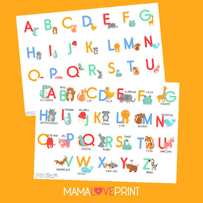 Mama Love Print Printable - A to Z 英文字母早教掛牆圖動物卡通  Alphabet with Animals Cartoon Poster Free Download Freebies Printable