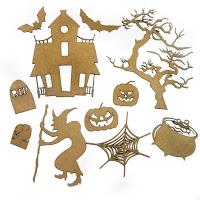Halloween scene chipboard
