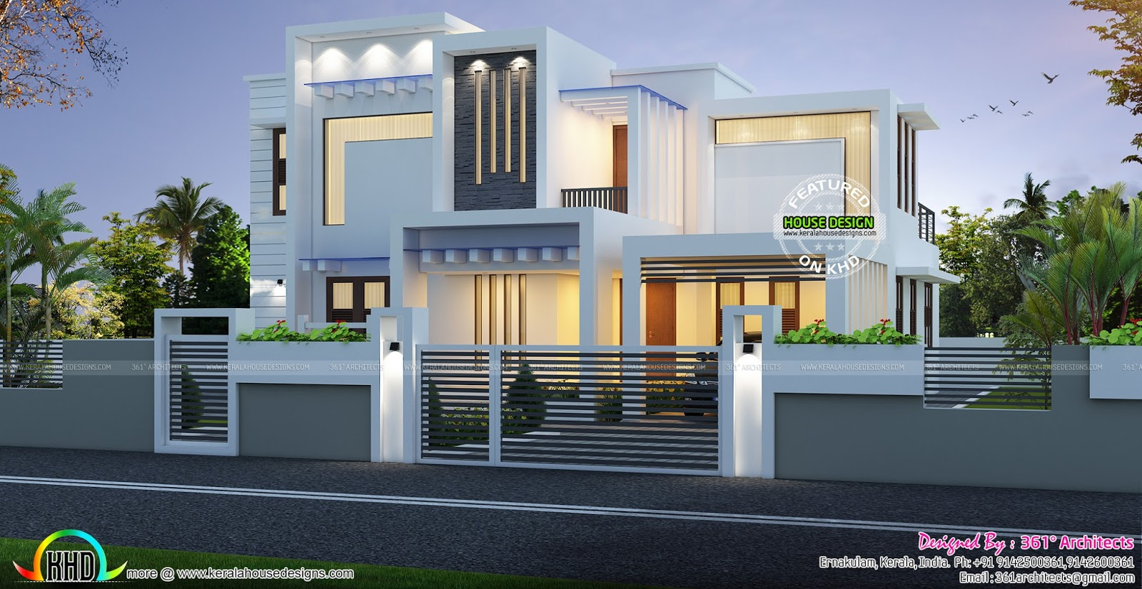Contemporary box type white home 2224 sq ft kerala home for Modern box type house design