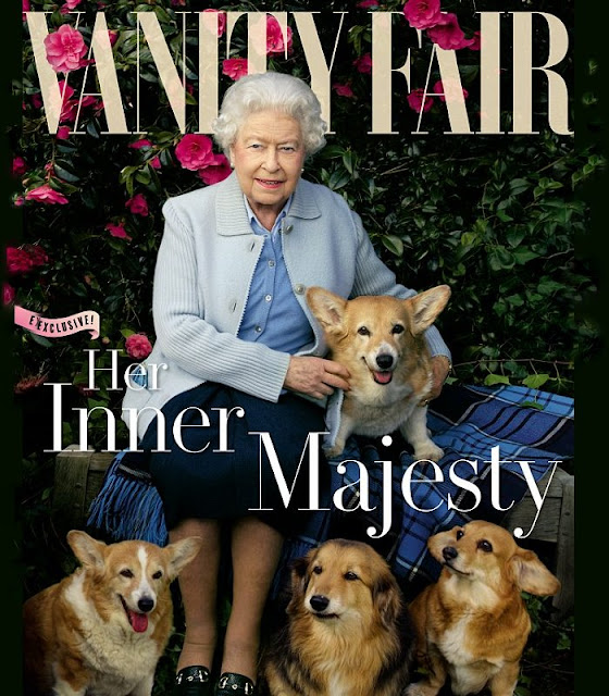 Queen Elizabeth grace the cover of the next edition of Vanity Fair UK to mark the monarch's 90th birthday - Willow, Holly, Vulcan and Candy