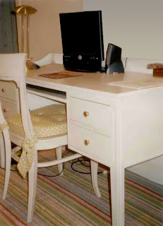 painted teenager's desk, rope moulding, flute accents