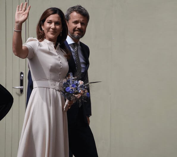 Crown Princess Mary wore a new puff-sleeve belted wool dress by Beulah London. Beulah Ahana midi dress. Queen Margrethe
