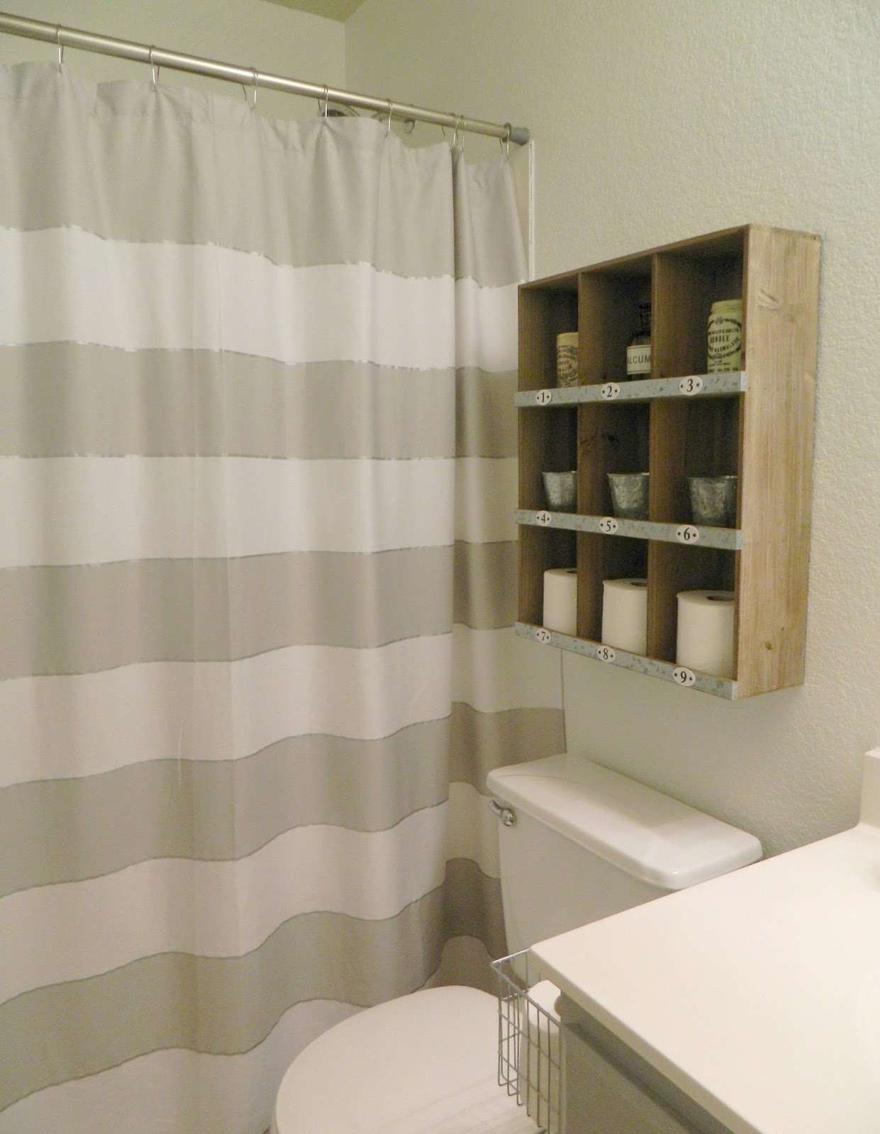 Fern Creek Cottage Our Home - Beige and gray shower curtain